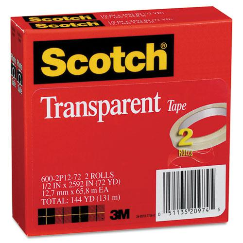 "Transparent Tape, 3"" Core, 0.5"" x 72 yds, Transparent, 2/Pack. Picture 5"