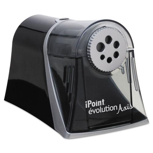 """iPoint Evolution Axis Pencil Sharpener, AC-Powered, 5"""" x 7.5"""" x 7.25"""", Black/Silver. Picture 1"""