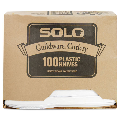 Guildware Extra Heavyweight Plastic Knives, White, 100/Box. Picture 3