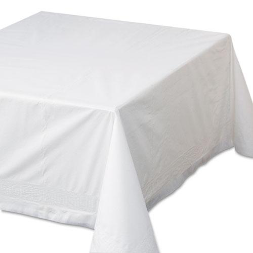 """Tissue/Poly Tablecovers, 72"""" x 72"""", White, 25/Carton. Picture 1"""