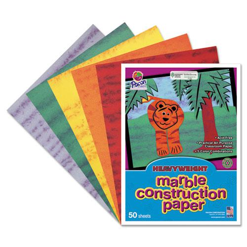 Marble Construction Paper, 76 lb, 9 x 12, Assorted Colors, 50/Pack. Picture 1