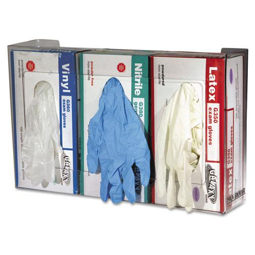 Clear Plexiglas Disposable Glove Dispenser, Three-Box, 18w x 3 3/4d x 10h. Picture 4