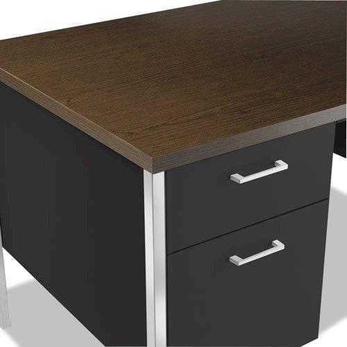 "Double Pedestal Steel Desk, 60"" x 30"" x 29.5"", Mocha/Black. Picture 2"