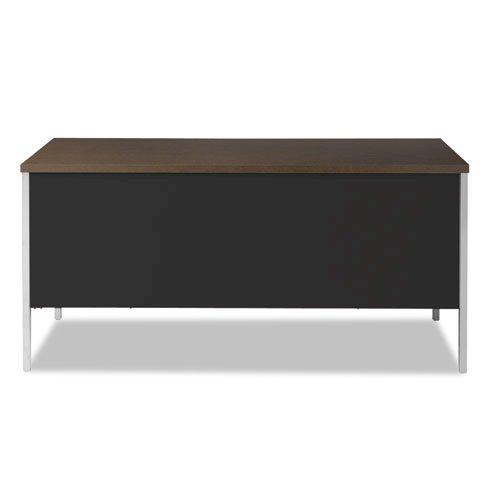 "Double Pedestal Steel Desk, 60"" x 30"" x 29.5"", Mocha/Black. Picture 3"