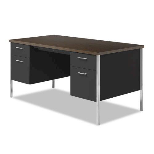 "Double Pedestal Steel Desk, 60"" x 30"" x 29.5"", Mocha/Black. Picture 5"