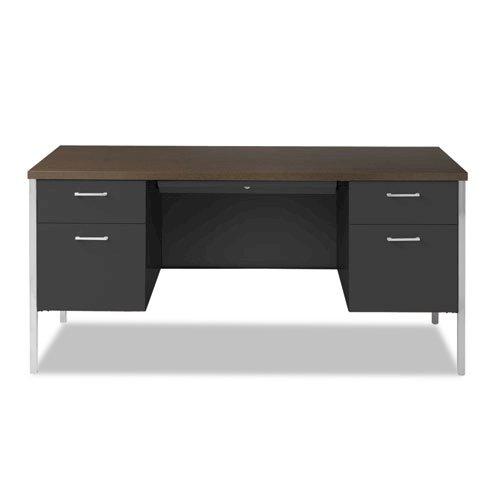 "Double Pedestal Steel Desk, 60"" x 30"" x 29.5"", Mocha/Black. Picture 6"