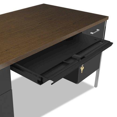 "Double Pedestal Steel Desk, 60"" x 30"" x 29.5"", Mocha/Black. Picture 7"