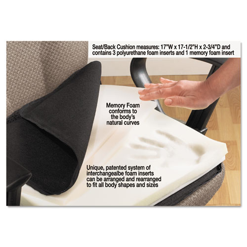 Deluxe Seat/Back Cushion with Memory Foam, 17w x 2.75d x 17.5h, Black. Picture 2