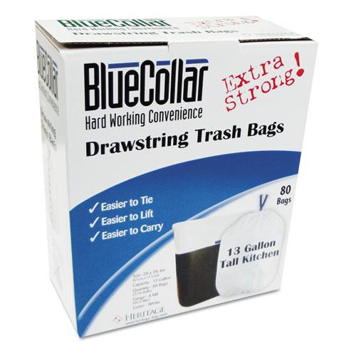 "Drawstring Trash Bags, 13 gal, 0.8 mil, 24"" x 28"", White, 80/Box. Picture 1"