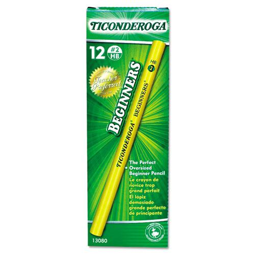 Ticonderoga Beginners Woodcase Pencil with Microban Protection, HB (#2), Black Lead, Yellow Barrel, Dozen. Picture 2