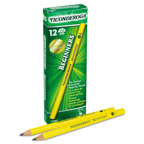 Ticonderoga Beginners Woodcase Pencil with Microban Protection, HB (#2), Black Lead, Yellow Barrel, Dozen. Picture 3