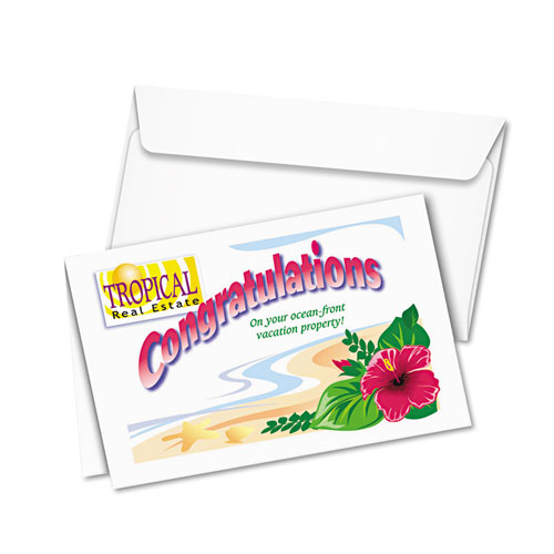 Half-Fold Greeting Cards, Inkjet, 5 1/2 x 8.5, Matte White, 20/Box w/Envelopes. Picture 3