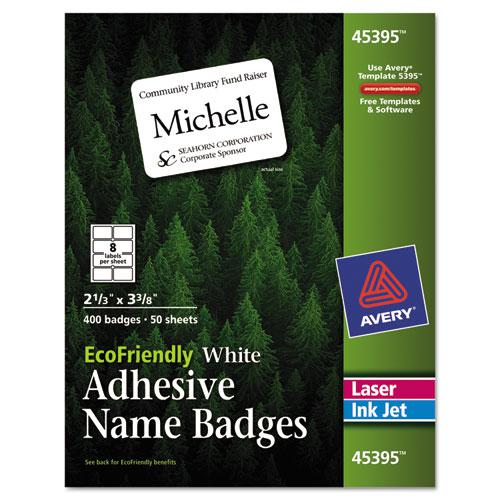 EcoFriendly Adhesive Name Badge Labels, 3.38 x 2.33, White, 400/Box. Picture 1