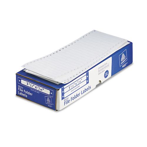 Dot Matrix Printer Permanent File Folder Labels, 0.44 x 3.5, White, 5,000/Box. Picture 2
