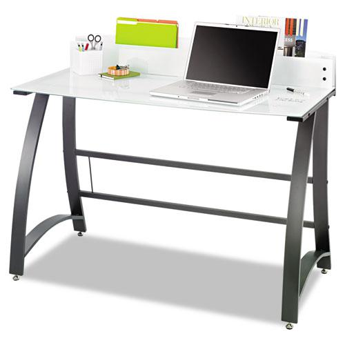 """Xpressions 47"""" Computer Desk, 47"""" x 23"""" x 37"""", Frosted/Black. Picture 2"""