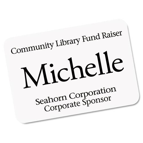 EcoFriendly Adhesive Name Badge Labels, 3.38 x 2.33, White, 160/Box. Picture 2