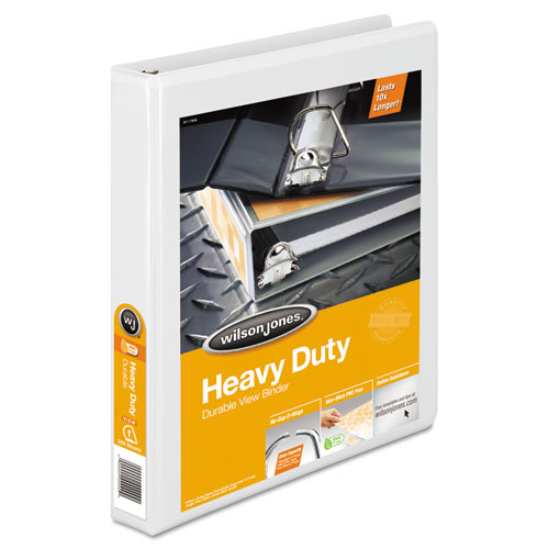 """Heavy-Duty D-Ring View Binder with Extra-Durable Hinge, 3 Rings, 1"""" Capacity, 11 x 8.5, White. Picture 1"""
