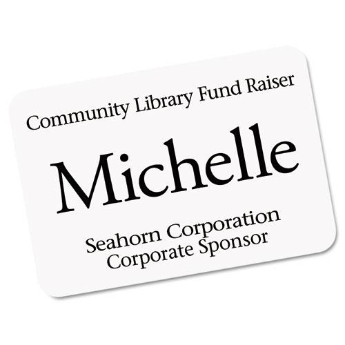 EcoFriendly Adhesive Name Badge Labels, 3.38 x 2.33, White, 400/Box. Picture 2
