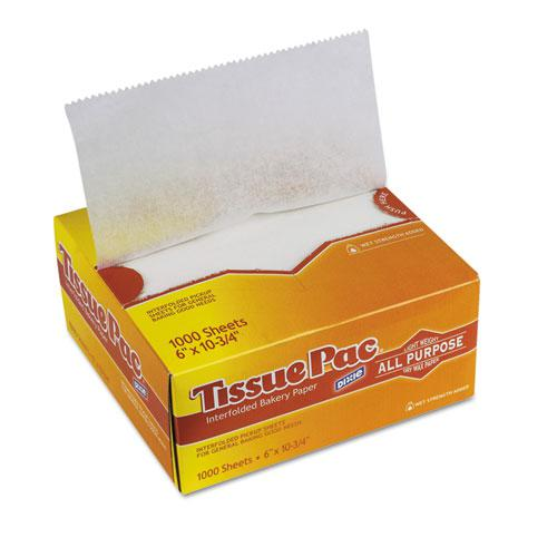 Tissue-Pac Lightweight Dry Waxed Interfolding Tissue, 6x10 3/4, White, 1000/Pack. Picture 1