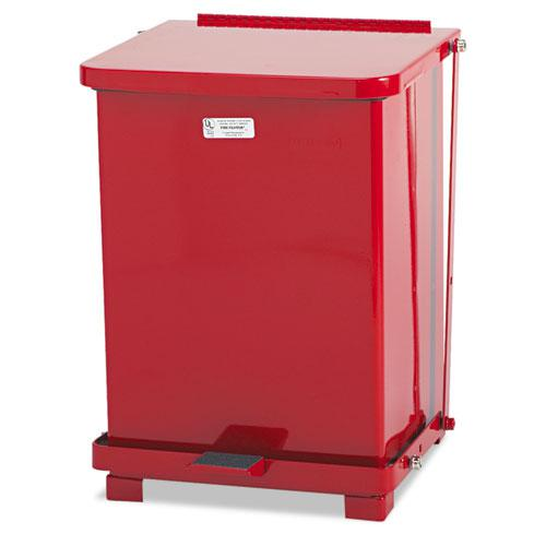 Defenders Biohazard Step Can, Square, Steel, 4 gal, Red. Picture 1