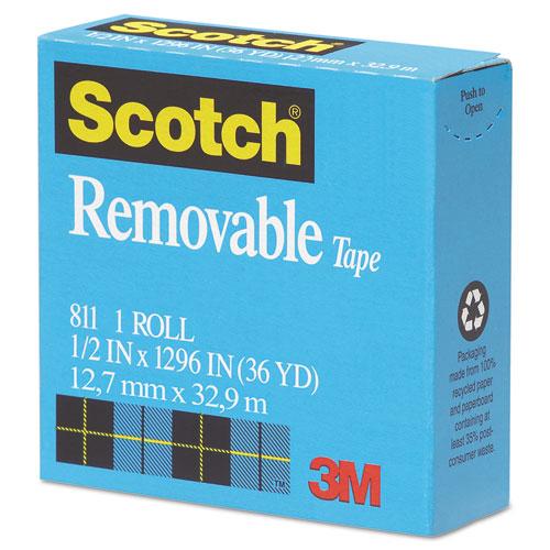 "Removable Tape, 1"" Core, 0.5"" x 36 yds, Transparent. Picture 2"