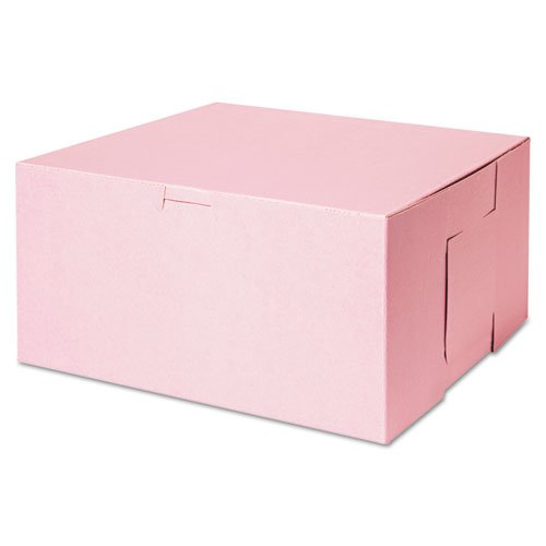 Tuck-Top Bakery Boxes, 10w x 10d x 5h, Pink, 100/Carton. Picture 1
