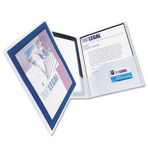 Flexi-View Two-Pocket Polypropylene Folder, Translucent/Navy, 2/Pack. Picture 5