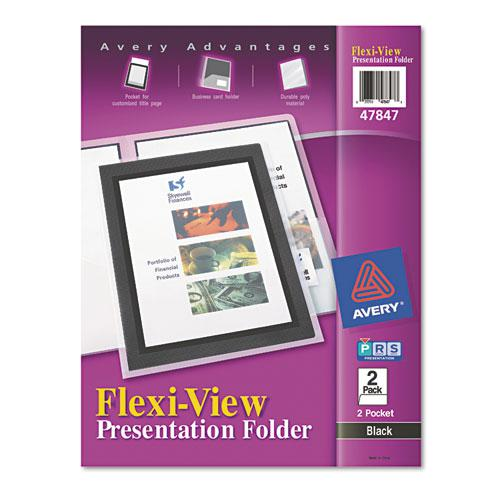 Flexi-View Two-Pocket Polypropylene Folder, Translucent/Black, 2/Pack. The main picture.