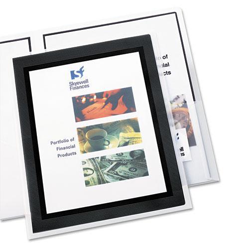 Flexi-View Two-Pocket Polypropylene Folder, Translucent/Black, 2/Pack. Picture 3