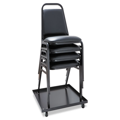 Padded Steel Stacking Chair, Black Seat/Black Back, Black Base, 4/Carton. Picture 3