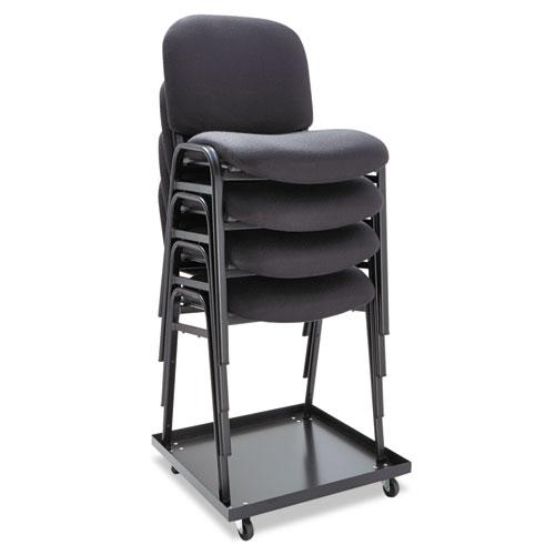 Alera Continental Series Stacking Chairs, Black Seat/Black Back, Black Base, 4/Carton. Picture 3