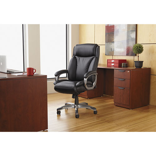 Alera Veon Series Executive High-Back Bonded Leather Chair, Supports up to 275 lbs., Brown Seat/Brown Back, Bronze Base. Picture 15