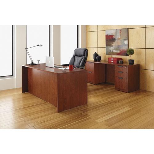 "Alera Valencia Series Straight Front Desk Shell, 65"" x 29.5"" x 29.63"", Medium Cherry. Picture 21"