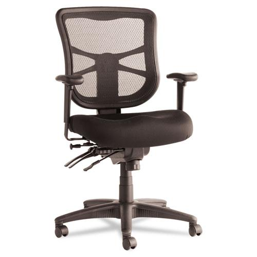 Alera Elusion Series Mesh Mid-Back Multifunction Chair, Supports up to 275 lbs, Black Seat/Black Back, Black Base. Picture 1
