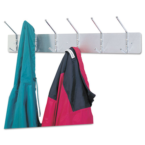 Metal Wall Rack, Six Ball-Tipped Double-Hooks, 36w x 3.75d x 7h, Satin Metal. Picture 3