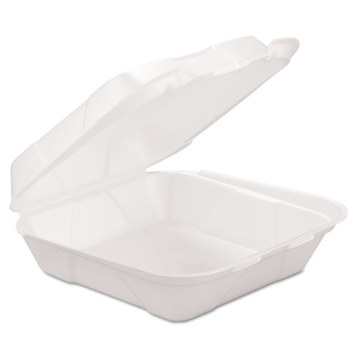 Foam Hinged Carryout Container, 1-Comp, White, 8 X 8 1/4 X 3, 200/Carton. Picture 1