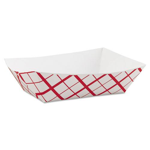 Paper Food Baskets, 3 lb Capacity, 7.2 x 4.95 x 1.94, Red/White, 500/Carton. Picture 1