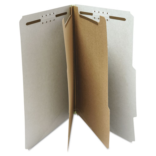 Six--Section Pressboard Classification Folders, 2 Dividers, Letter Size, Gray, 10/Box. Picture 3