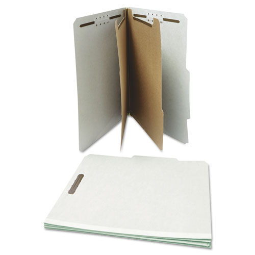 Six--Section Pressboard Classification Folders, 2 Dividers, Letter Size, Gray, 10/Box. Picture 2