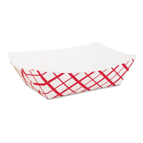 Paper Food Baskets, 2 lb Capacity, Red/White, 1,000/Carton. Picture 1