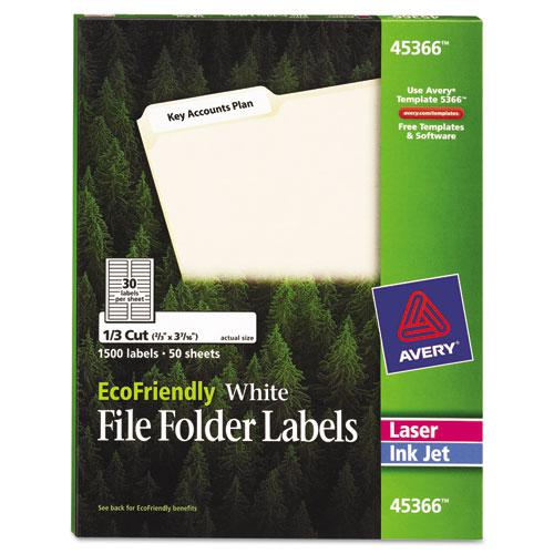 EcoFriendly Permanent File Folder Labels, 0.66 x 3.44, White, 30/Sheet, 50 Sheets/Pack. Picture 1