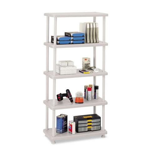 Iceberg Rough 'N Ready 5-Shelf Open Storage Unit, Platinum. Picture 1