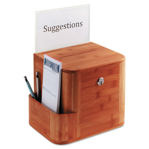 Bamboo Suggestion Box, 10 x 8 x 14, Cherry. Picture 1