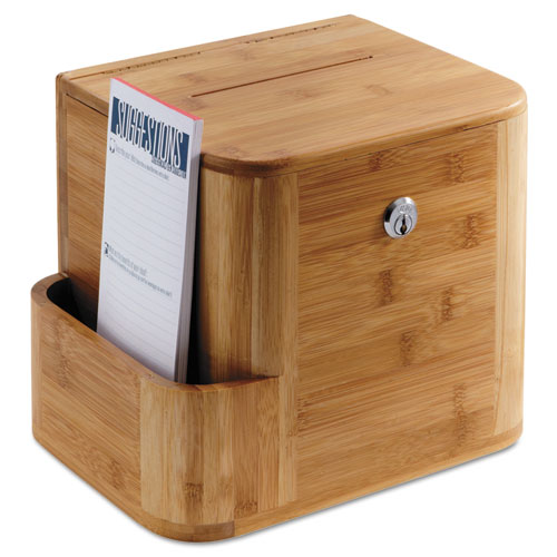 Bamboo Suggestion Box, 10 x 8 x 14, Natural. Picture 1