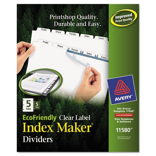 Index Maker EcoFriendly Print and Apply Clear Label Dividers with White Tabs, 5-Tab, 11 x 8.5, White, 5 Sets. Picture 1