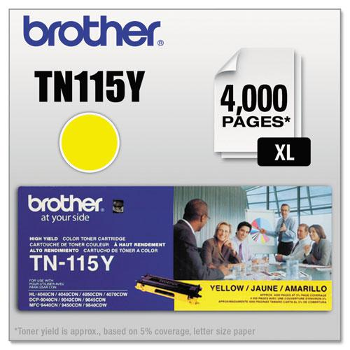 TN115Y High-Yield Toner, 4000 Page-Yield, Yellow