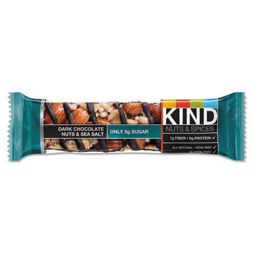 Nuts and Spices Bar, Dark Chocolate Nuts and Sea Salt, 1.4 oz, 12/Box. Picture 2
