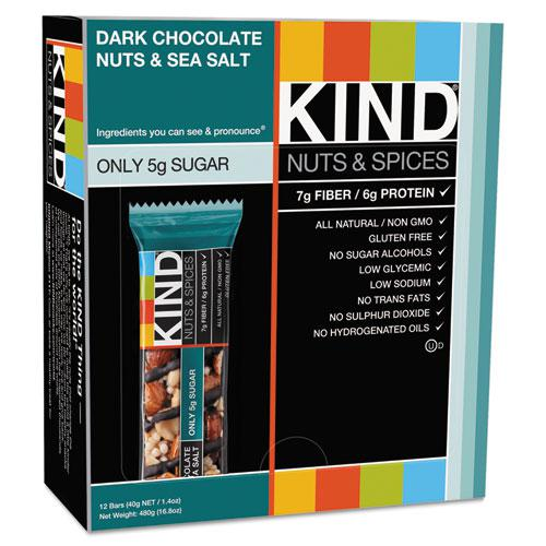 Nuts and Spices Bar, Dark Chocolate Nuts and Sea Salt, 1.4 oz, 12/Box. Picture 3