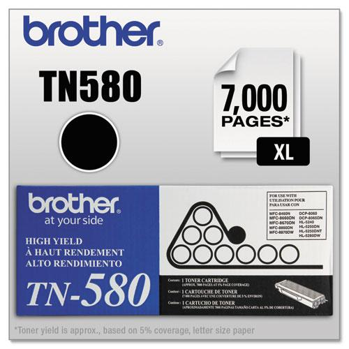 TN580 High-Yield Toner, 7000 Page-Yield, Black. Picture 1