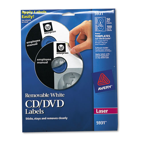 Laser CD Labels, Matte White, 50/Pack. Picture 1